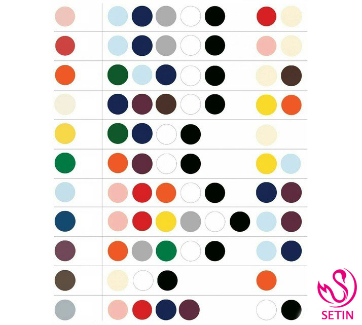 جدول ست رنگ ها